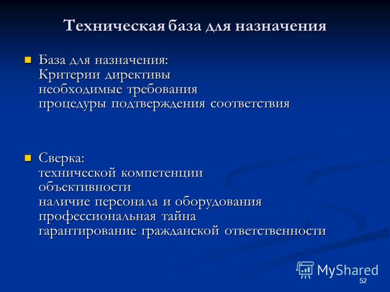 52 Техническая база для назначения База для назначения: Критерии директивы необходимые требования процедуры подтверждения соответствия База для назначения: Критерии директивы необходимые требования процедуры подтверждения соответствия Сверка: техниче