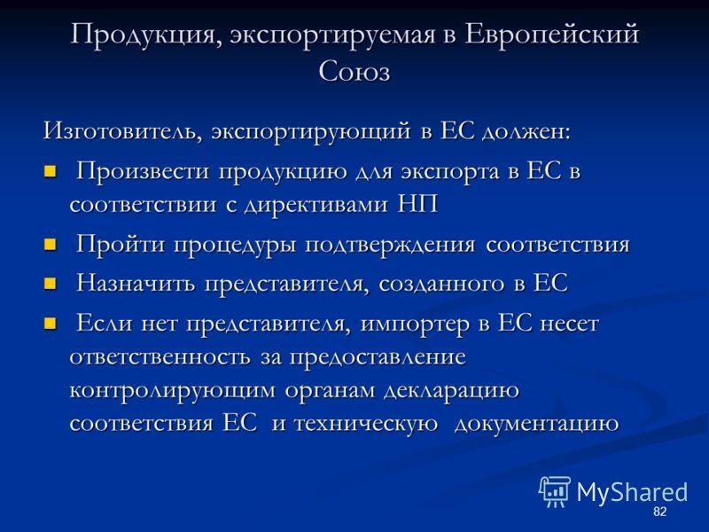 82 Продукция, экспортируемая в Европейский Союз Изготовитель, экспортирующий в ЕС должен: Произвести продукцию для экспорта в ЕС в соответствии с директивами НП Произвести продукцию для экспорта в ЕС в соответствии с директивами НП Пройти процедуры п