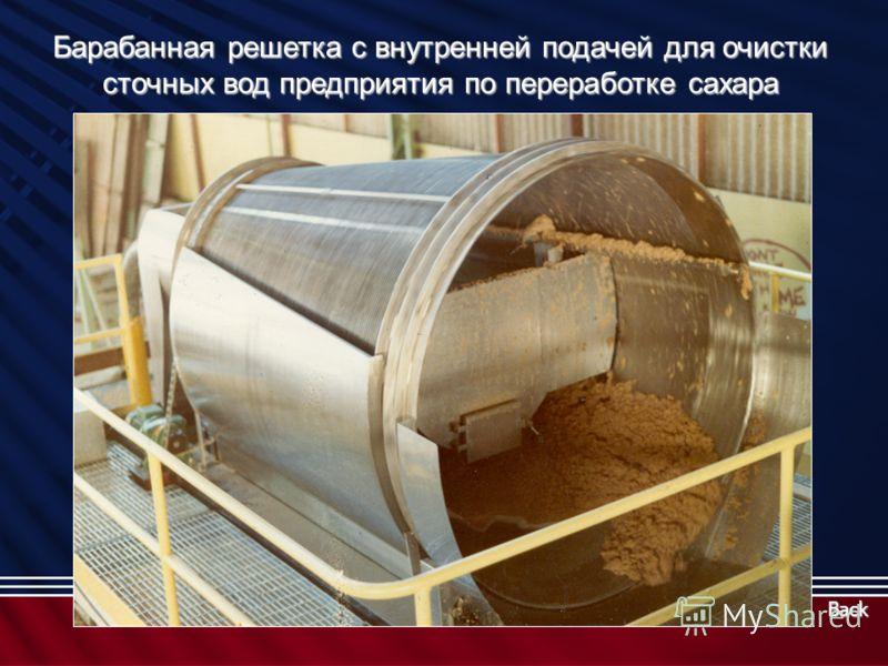 Барабанная решетка с внутренней подачей для очистки сточных вод предприятия по переработке сахара Back