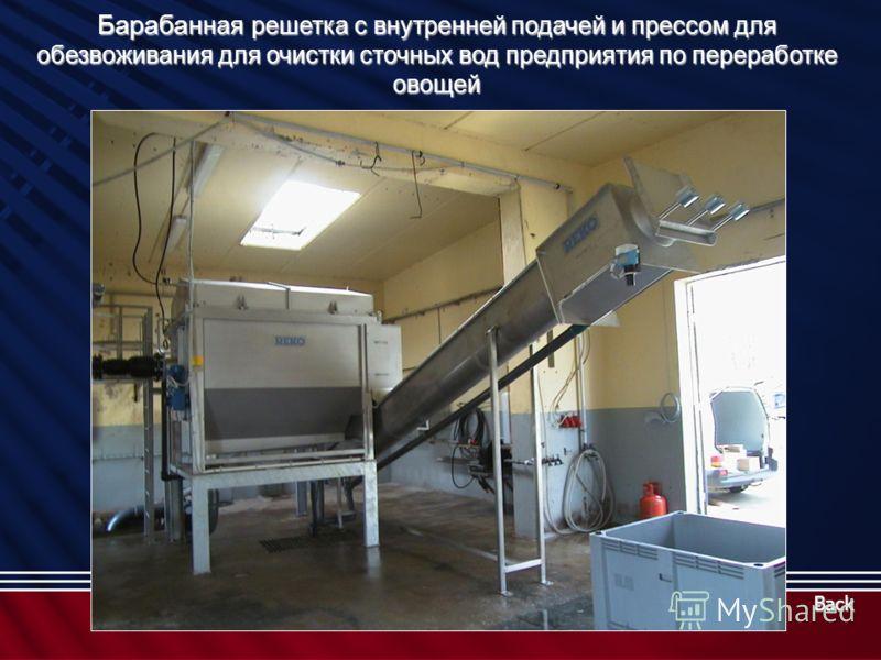 Барабан ная решетка с внутренней подачей и прессом для обезвоживания для очистки сточных вод предприятия по переработке овощей Back