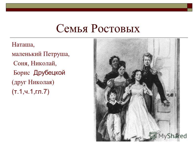Семья Ростовых Наташа, маленький Петруша, Соня, Николай, Борис Друбецкой (друг Николая) (т.1,ч.1,гл.7)
