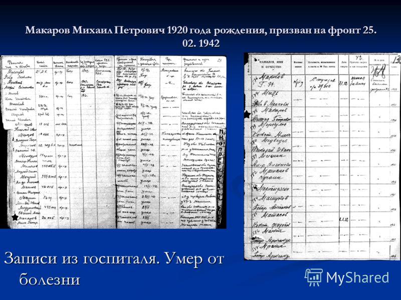 Макаров Михаил Петрович 1920 года рождения, призван на фронт 25. 02. 1942 Записи из госпиталя. Умер от болезни