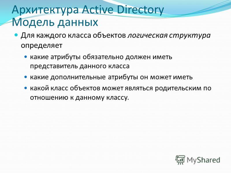 Архитектура Active Directory Модель данных Для каждого класса объектов логическая структура определяет какие атрибуты обязательно должен иметь представитель данного класса какие дополнительные атрибуты он может иметь какой класс объектов может являть