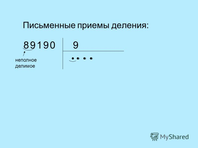 Письменные приемы деления: 9 неполное делимое 01899