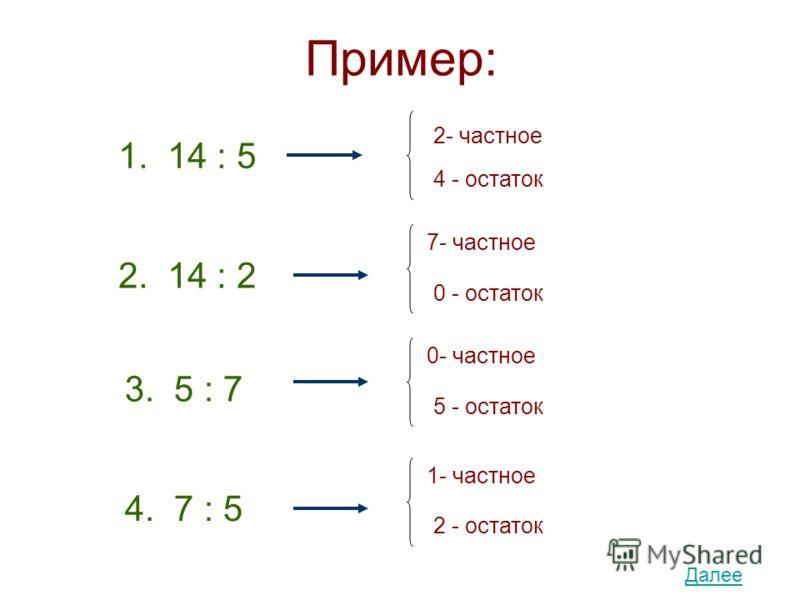 Пример: 1. 14 : 5 2- частное 4 - остаток 2. 14 : 2 7- частное 0 - остаток 3. 5 : 7 0- частное 5 - остаток 4. 7 : 5 1- частное 2 - остаток Далее