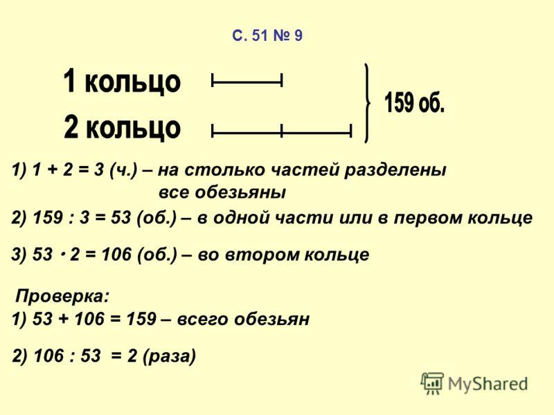 1)1 + 2 = 3 (ч.) – на столько частей разделены все обезьяны 2) 159 : 3 = 53 (об.) – в одной части или в первом кольце 3) 53 2 = 106 (об.) – во втором кольце Проверка: 1) 53 + 106 = 159 – всего обезьян 2) 106 : 53 = 2 (раза) С. 51 9