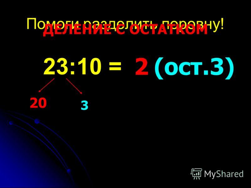 Помоги разделить поровну! 23:10 = 20 3 2(ост.3) ДЕЛЕНИЕ С ОСТАТКОМ
