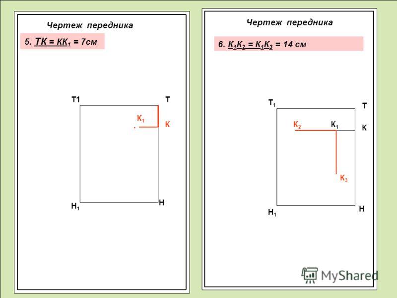 Чертеж передника Т Н Т1 Н1Н1 К К1К1 Т Т1Т1 Н1Н1 Н К1К1 КК2К2 К3К3 5. ТК = КК 1 = 7см 6. К 1 К 2 = К 1 К 3 = 14 см.