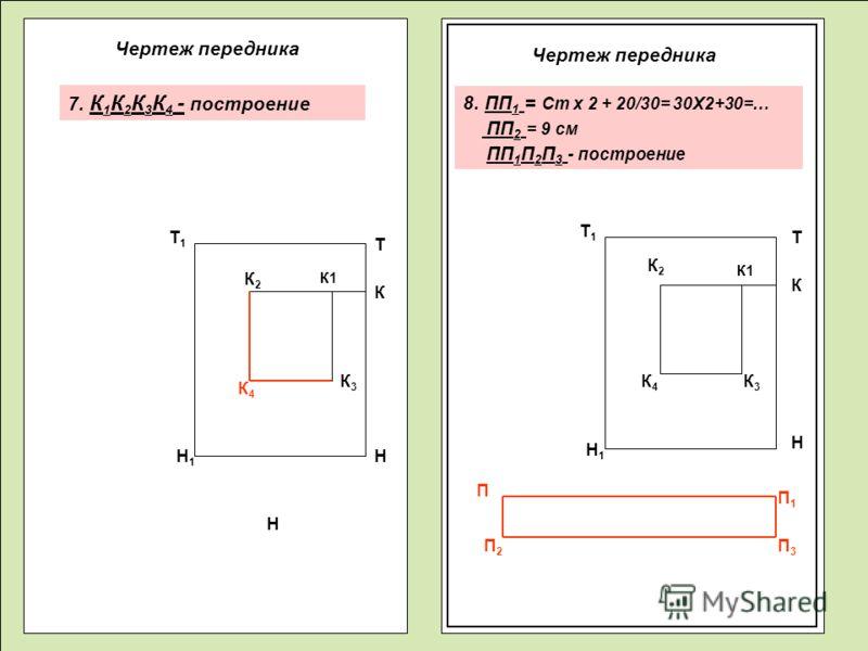 Чертеж передника К4К4 Т Н Н Н Т К К К1 К2К2 К2К2 К4К4 К3К3 К3К3 П П1П1 П3П3 П2П2 Т1Т1 Т1Т1 Н1Н1 Н1Н1 7. К 1 К 2 К 3 К 4 - построение 8. ПП 1 = Ст х 2 + 20/30= 30Х2+30=… ПП 2 = 9 см ПП 1 П 2 П 3 - построение