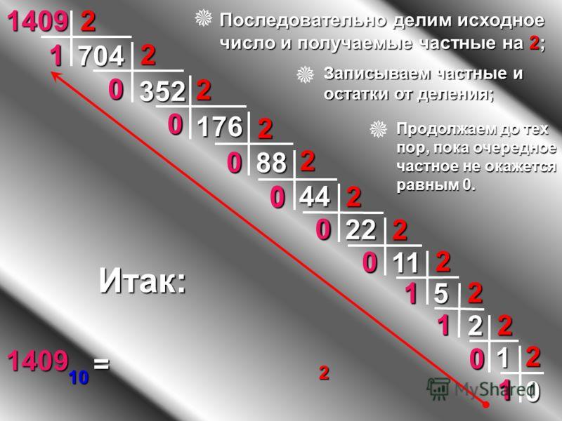 0 5 1 0 11 2 0 22 2 0 44 2 2 176 0 2 352 0 222 1 2 1409 704 88 1 0 2 2 1 0 1 2 Итак: 1409 10 = 1 0 1 1 0 0 0 0 0 0 1 2 Последовательно делим исходное число и получаемые частные на 2; Записываем частные и остатки от деления; Продолжаем до тех пор, пок