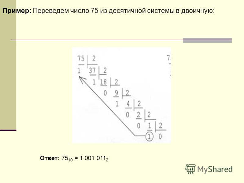 Пример: Переведем число 75 из десятичной системы в двоичную: Ответ: 75 10 = 1 001 011 2