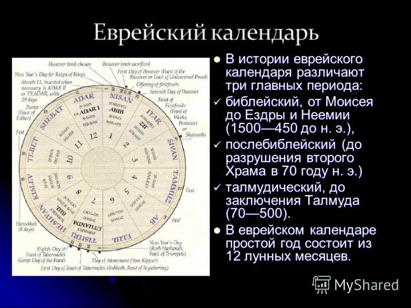 В истории еврейского календаря различают три главных периода: В истории еврейского календаря различают три главных периода: библейский, от Моисея до Ездры и Неемии (1500450 до н. э.), библейский, от Моисея до Ездры и Неемии (1500450 до н. э.), послеб