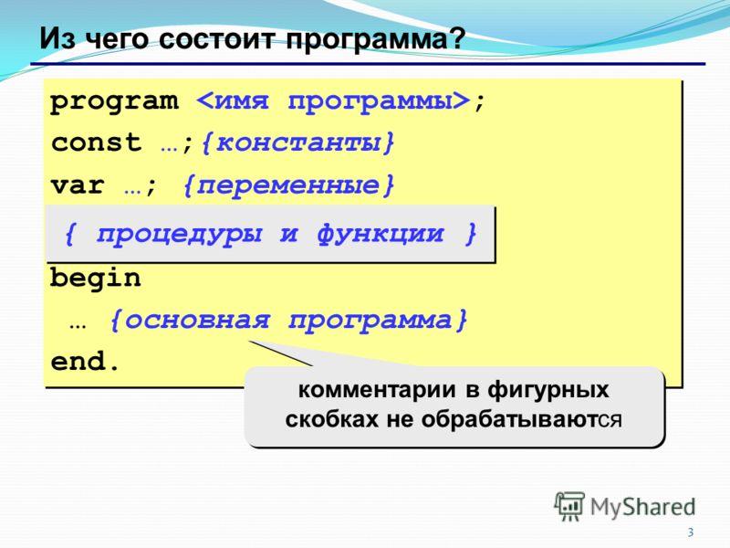 3 Из чего состоит программа? program ; const …;{константы} var …; {переменные} begin … {основная программа} end. program ; const …;{константы} var …; {переменные} begin … {основная программа} end. { процедуры и функции } комментарии в фигурных скобка
