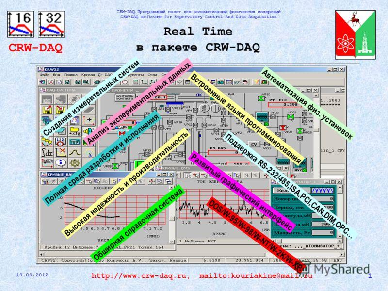 CRW-DAQ CRW-DAQ Программный пакет для автоматизации физических измерений CRW-DAQ software for Supervisory Control And Data Acquisition 19.09.2012 1http://www.crw-daq.ru, mailto:kouriakine@mail.ru Real Time в пакете CRW-DAQ Создание измерительных сист