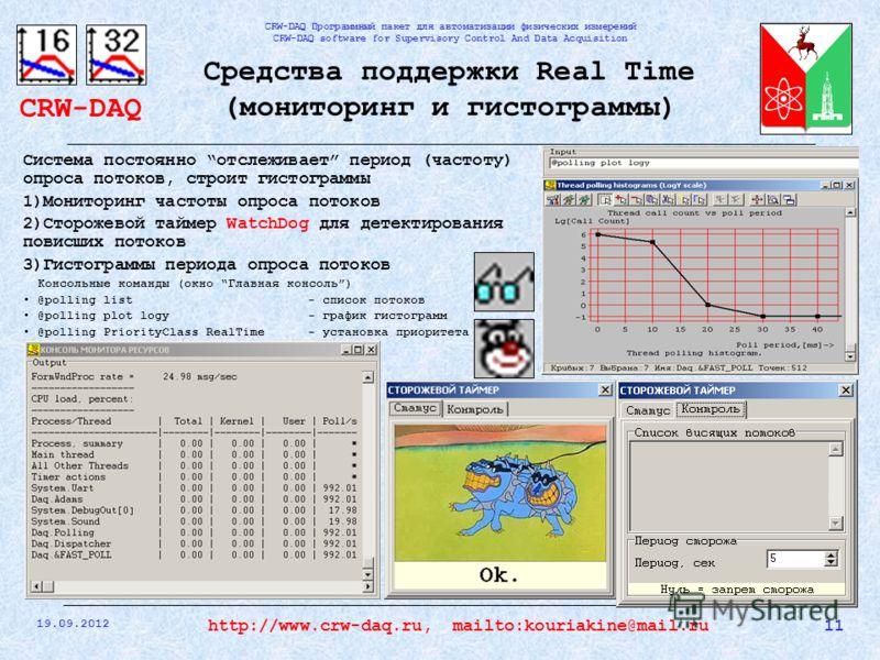 CRW-DAQ CRW-DAQ Программный пакет для автоматизации физических измерений CRW-DAQ software for Supervisory Control And Data Acquisition 19.09.2012 11http://www.crw-daq.ru, mailto:kouriakine@mail.ru Средства поддержки Real Time (мониторинг и гистограмм