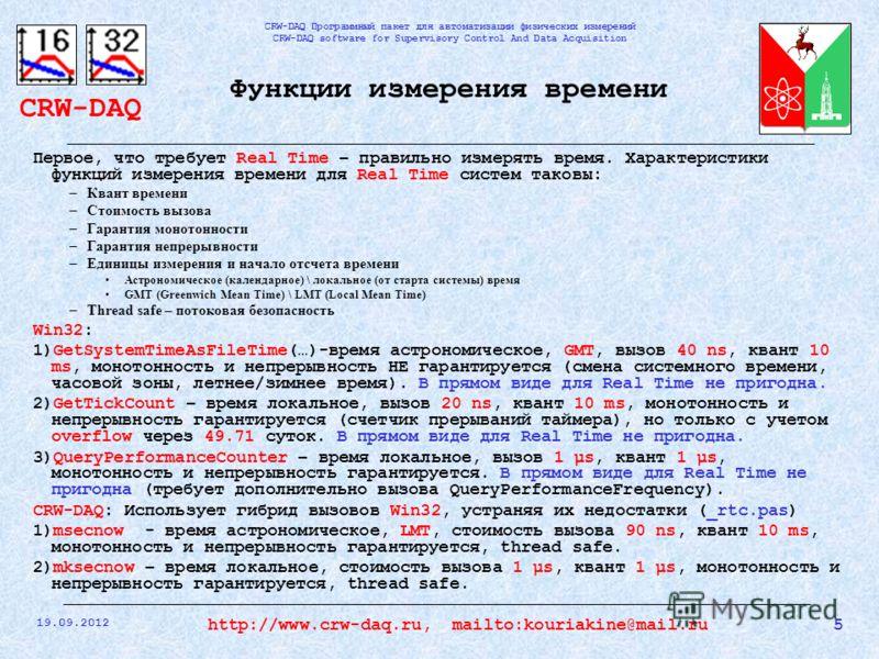 CRW-DAQ CRW-DAQ Программный пакет для автоматизации физических измерений CRW-DAQ software for Supervisory Control And Data Acquisition 19.09.2012 5http://www.crw-daq.ru, mailto:kouriakine@mail.ru Функции измерения времени Первое, что требует Real Tim