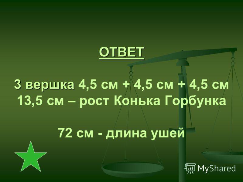 ОТВЕТ 3 вершка ОТВЕТ 3 вершка 4,5 см + 4,5 см + 4,5 см 13,5 см – рост Конька Горбунка 72 см - длина ушей