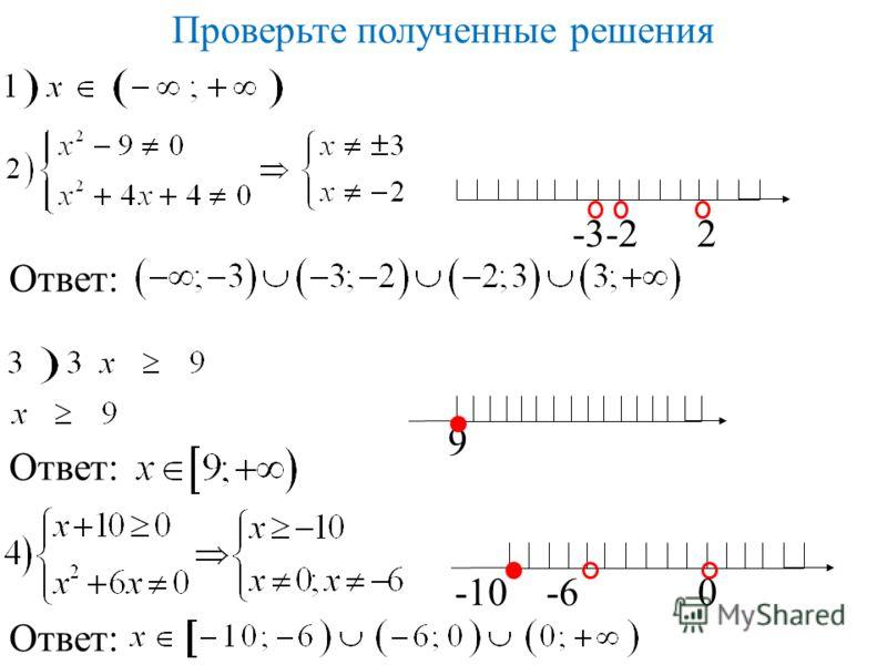 Проверьте полученные решения -3-2 2 Ответ: 9 -10 -6 0