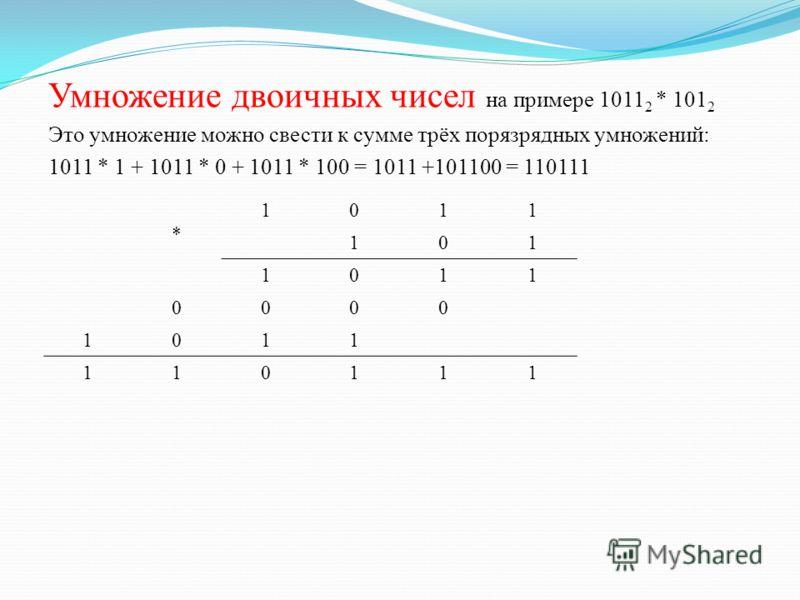 Умножение двоичных чисел на примере 1011 2 * 101 2 Это умножение можно свести к сумме трёх порязрядных умножений: 1011 * 1 + 1011 * 0 + 1011 * 100 = 1011 +101100 = 110111 * 1011 101 1011 0000 1011 110111