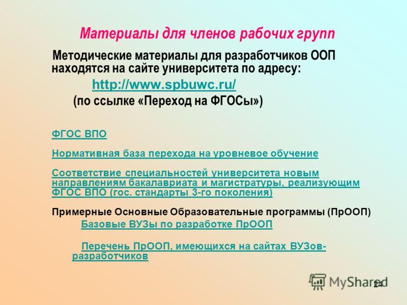 24 Материалы для членов рабочих групп Методические материалы для разработчиков ООП находятся на сайте университета по адресу: http://www.spbuwc.ru/ (по ссылке «Переход на ФГОСы») ФГОС ВПО Нормативная база перехода на уровневое обучение Соответствие с