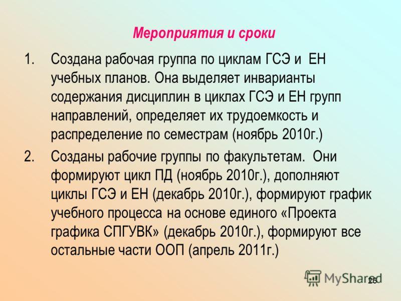 26 Мероприятия и сроки 1.Создана рабочая группа по циклам ГСЭ и ЕН учебных планов. Она выделяет инварианты содержания дисциплин в циклах ГСЭ и ЕН групп направлений, определяет их трудоемкость и распределение по семестрам (ноябрь 2010г.) 2.Созданы раб