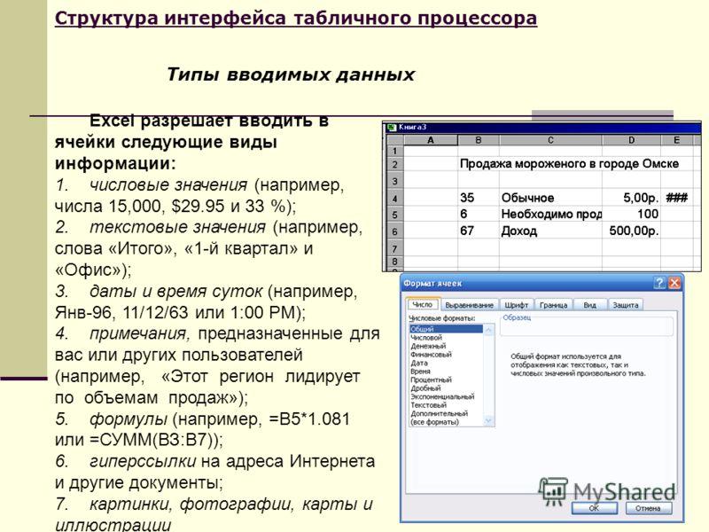 Структура интерфейса табличного процессора Excel разрешает вводить в ячейки следующие виды информации: 1.числовые значения (например, числа 15,000, $29.95 и 33 %); 2.текстовые значения (например, слова «Итого», «1-й квартал» и «Офис»); 3.даты и время