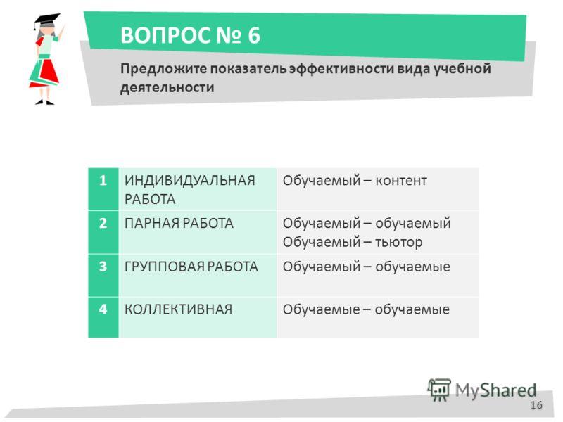 ВОПРОС 6 Предложите показатель эффективности вида учебной деятельности 1ИНДИВИДУАЛЬНАЯ РАБОТА Обучаемый – контент 2ПАРНАЯ РАБОТАОбучаемый – обучаемый Обучаемый – тьютор 3ГРУППОВАЯ РАБОТАОбучаемый – обучаемые 4КОЛЛЕКТИВНАЯОбучаемые – обучаемые 16