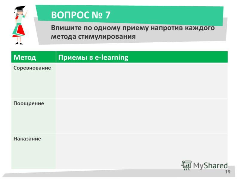 ВОПРОС 7 Впишите по одному приему напротив каждого метода стимулирования МетодПриемы в e-learning Соревнование Поощрение Наказание 19