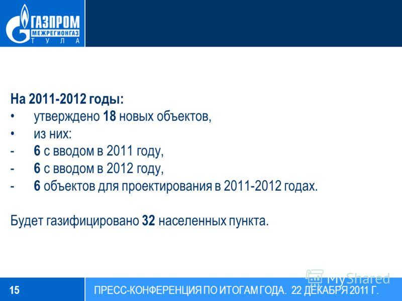 На 2011-2012 годы: утверждено 18 новых объектов, из них: - 6 с вводом в 2011 году, - 6 с вводом в 2012 году, - 6 объектов для проектирования в 2011-2012 годах. Будет газифицировано 32 населенных пункта. 15 ПРЕСС-КОНФЕРЕНЦИЯ ПО ИТОГАМ ГОДА. 22 ДЕКАБРЯ