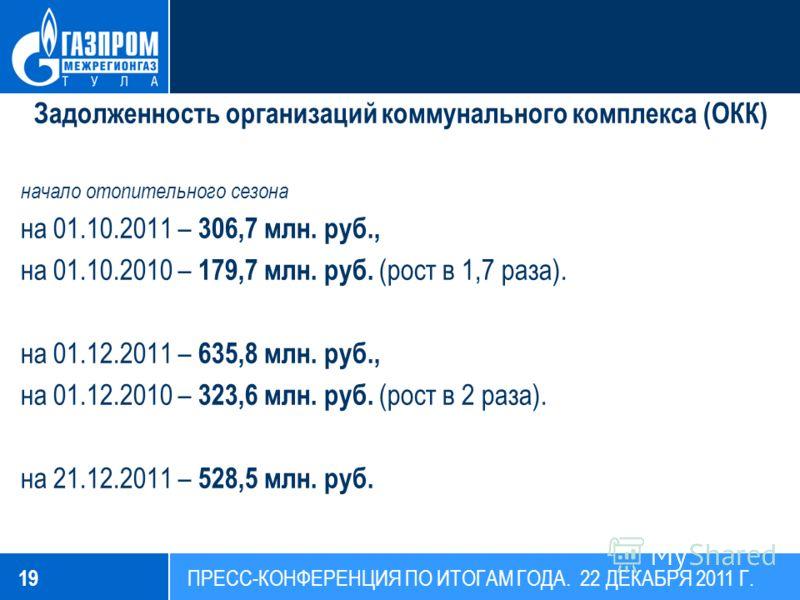 Задолженность организаций коммунального комплекса (ОКК) начало отопительного сезона на 01.10.2011 – 306,7 млн. руб., на 01.10.2010 – 179,7 млн. руб. (рост в 1,7 раза). на 01.12.2011 – 635,8 млн. руб., на 01.12.2010 – 323,6 млн. руб. (рост в 2 раза).
