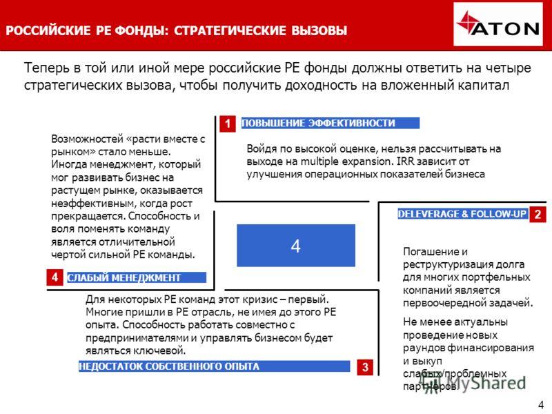 4 РОССИЙСКИЕ РЕ ФОНДЫ: СТРАТЕГИЧЕСКИЕ ВЫЗОВЫ Теперь в той или иной мере р оссийские РЕ фонды должны ответить на четыре стратегических вызова, чтобы получить доходность на вложенный капитал 4 1 2 3 4 ПОВЫШЕНИЕ ЭФФЕКТИВНОСТИ DELEVERAGE & FOLLOW-UP СЛАБ