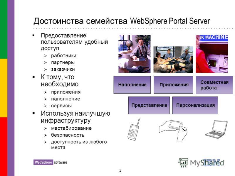 2 Достоинства семейства WebSphere Portal Server Предоставление пользователям удобный доступ работники партнеры заказчики К тому, что необходимо приложения наполнение сервисы Используя наилучшую инфраструктуру мастабирование безопасность доступность и