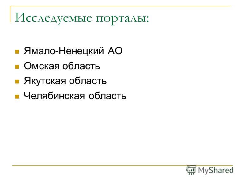 Исследуемые порталы: Ямало-Ненецкий АО Омская область Якутская область Челябинская область