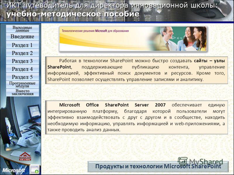 Microsoft Office SharePoint Server 2007 обеспечивает единую интегрированную платформу, благодаря которой пользователи могут эффективно взаимодействовать с друг с другом и в сообществе, находить необходимую информацию, управлять информацией и web-прил