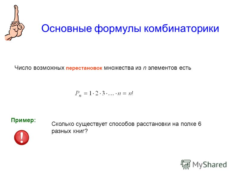 Основные формулы комбинаторики Число возможных перестановок множества из n элементов есть Сколько существует способов расстановки на полке 6 разных книг? Пример: