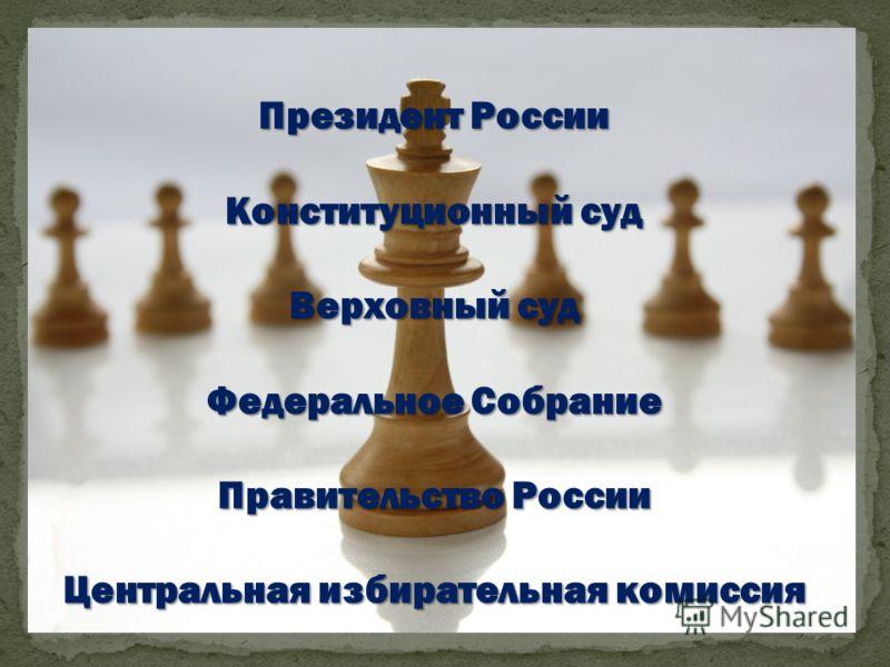 Президент России Конституционный суд Верховный суд Федеральное Собрание Правительство России Центральная избирательная комиссия