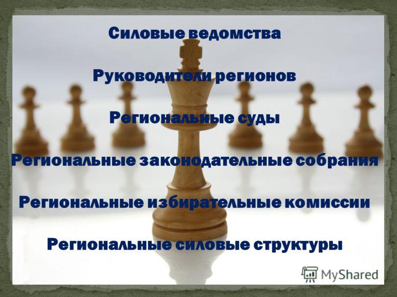 Силовые ведомства Руководители регионов Региональные суды Региональные законодательные собрания Региональные избирательные комиссии Региональные силовые структуры