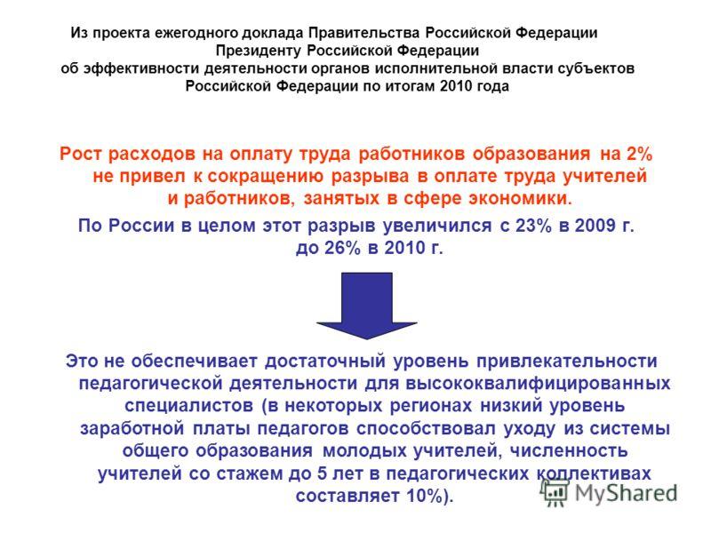 Рост расходов на оплату труда работников образования на 2% не привел к сокращению разрыва в оплате труда учителей и работников, занятых в сфере экономики. По России в целом этот разрыв увеличился с 23% в 2009 г. до 26% в 2010 г. Это не обеспечивает д