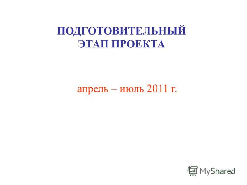 5 апрель – июль 2011 г. ПОДГОТОВИТЕЛЬНЫЙ ЭТАП ПРОЕКТА