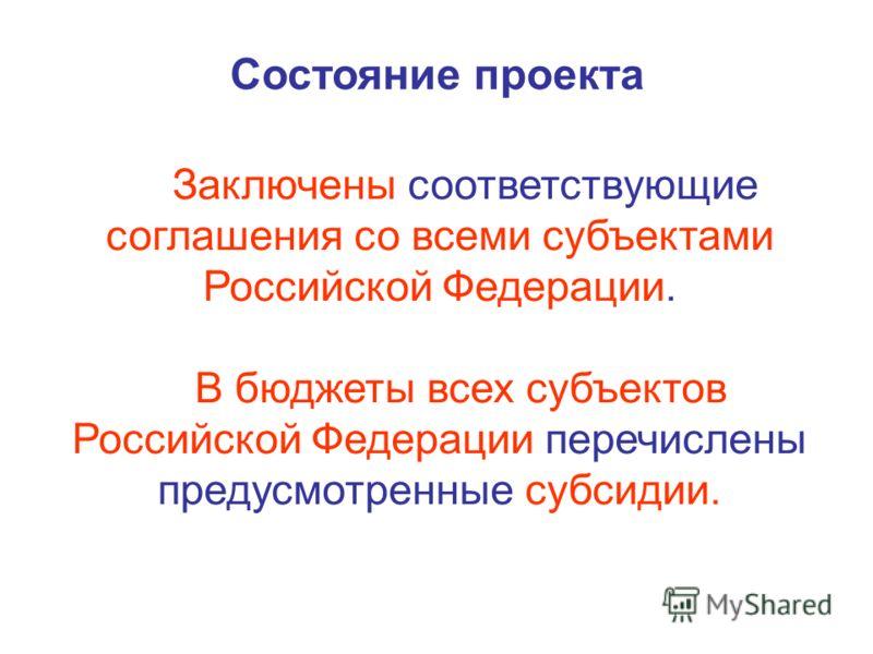 Состояние проекта Заключены соответствующие соглашения со всеми субъектами Российской Федерации. В бюджеты всех субъектов Российской Федерации перечислены предусмотренные субсидии.