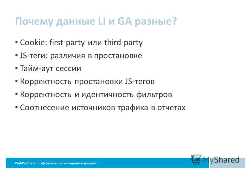 WebProfiters эффективный интернет-маркетинг Почему данные LI и GA разные? Cookie: first-party или third-party JS-теги: различия в простановке Тайм-аут сессии Корректность простановки JS-тегов Корректность и идентичность фильтров Соотнесение источнико