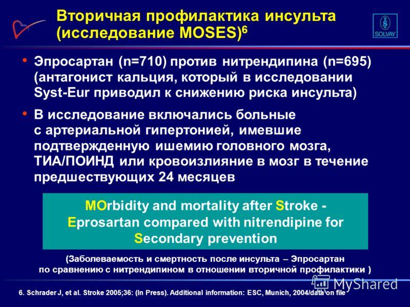 Эпросартан (n=710) против нитрендипина (n=695) (антагонист кальция, который в исследовании Syst-Eur приводил к снижению риска инсульта) В исследование включались больные с артериальной гипертонией, имевшие подтвержденную ишемию головного мозга, ТИА/П
