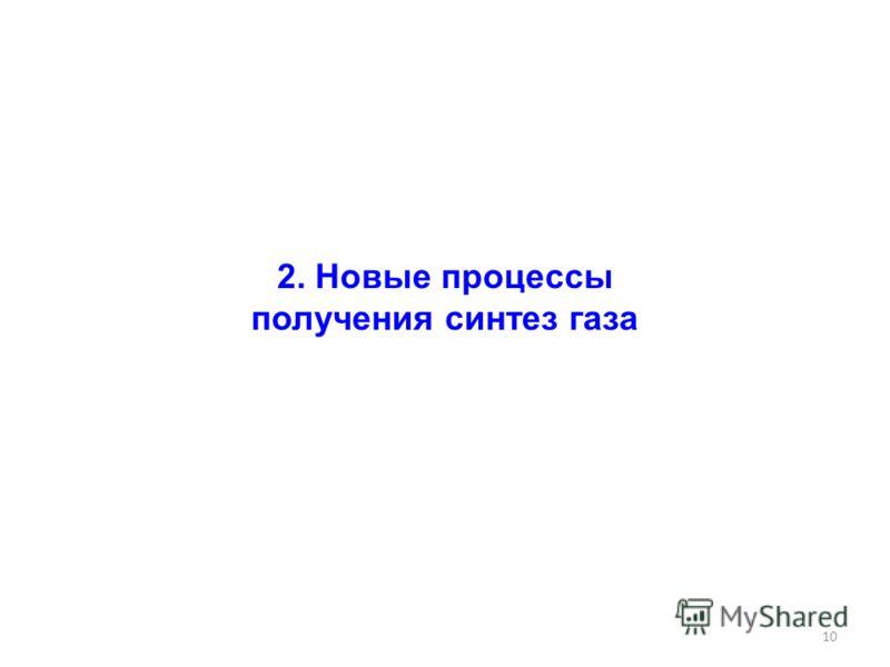 10 2. Новые процессы получения синтез газа