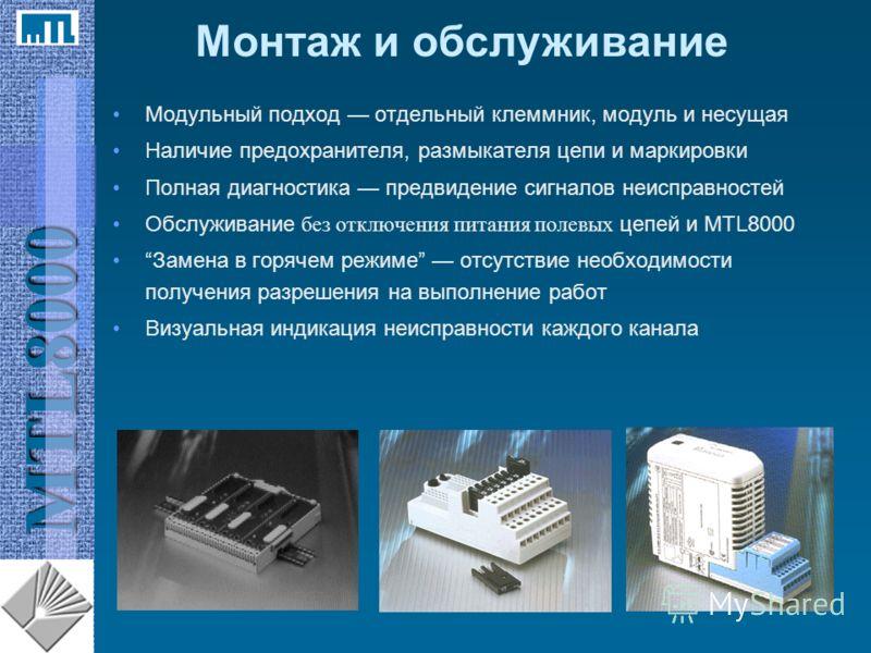 MTL8000 Модульный подход отдельный клеммник, модуль и несущая Наличие предохранителя, размыкателя цепи и маркировки Полная диагностика предвидение сигналов неисправностей Обслуживание без отключения питания полевых цепей и MTL8000 Замена в горячем ре
