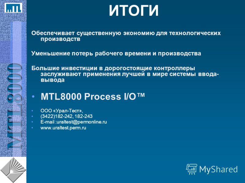 MTL8000 ИТОГИ Обеспечивает существенную экономию для технологических производств Уменьшение потерь рабочего времени и производства Большие инвестиции в дорогостоящие контроллеры заслуживают применения лучшей в мире системы ввода- вывода MTL8000 Proce
