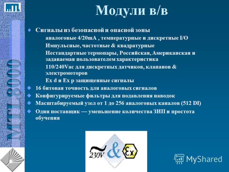 MTL8000 Модули в/в Сигналы из безопасной и опасной зоны аналоговые 4/20mA, температурные и дискретные I/O Импульсные, частотные & квадратурные Нестандартные термопары, Российская, Американская и задаваемая пользователем характеристика 110/240Vac для