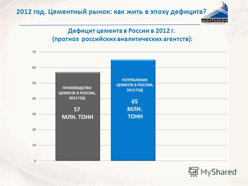 НА ТВЕРДОЙ ОСНОВЕ 2012 год. Цементный рынок: как жить в эпоху дефицита? Дефицит цемента в России в 2012 г. (прогноз российских аналитических агентств):