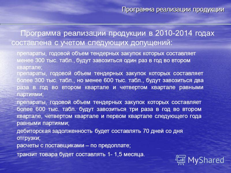 Программа реализации продукции Программа реализации продукции в 2010-2014 годах составлена с учетом следующих допущений: препараты, годовой объем тендерных закупок которых составляет менее 300 тыс. табл., будут завозиться один раз в год во втором ква