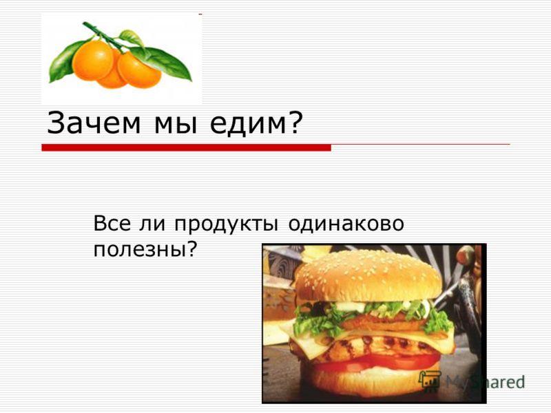 Зачем мы едим? Все ли продукты одинаково полезны?