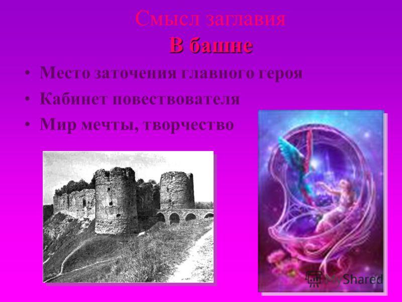 Место заточения главного героя Кабинет повествователя Мир мечты, творчество В башне Смысл заглавия В башне